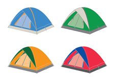 Tents. Dome-shaped in assorted colours, red, blue, orange and green Stock Photography