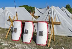 Tents in an ancient Roman military encampment Royalty Free Stock Photography