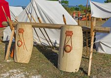 Tents in an ancient Roman military encampment. Historical reenactment Royalty Free Stock Image