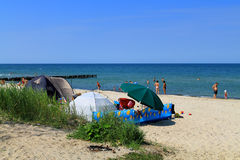 Tents on the bank of the Baltic Sea Royalty Free Stock Photo