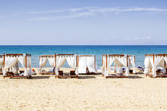 Tents on the beach and blue sky Royalty Free Stock Photography