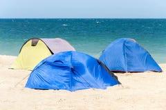 Tents at the Black Sea beach, Romania, Europe Royalty Free Stock Image