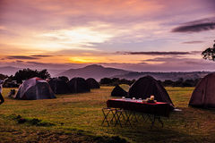 Tents and a breakfast table Stock Images