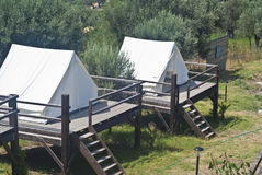 Tents in camping. Tents in touristic camping . Acquedolci, Messina, Sicily Stock Photography