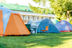 Tents Camping area in beautiful natural place Stock Photography
