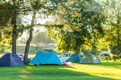 Tents Camping area in beautiful natural place Royalty Free Stock Image