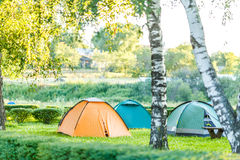 Tents Camping area in beautiful natural place Stock Photos