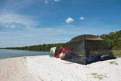 Tents Camping on Beach Stock Photo