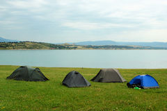 Tents in camping near the Tbilisi water reservoir, Georgia Stock Images