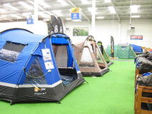 Tents in a camping store. Tents pitched for a display in a camping store. Tents already up for customers to inspect. This is in the go outdoors store situated royalty free stock photo