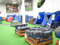 Tents in a camping store. Royalty Free Stock Photography