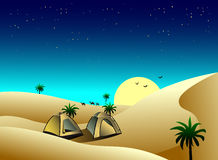 tents in the desert vector illustration