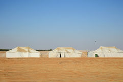 Tents in desert. Row of white camp tents in desert Royalty Free Stock Photography