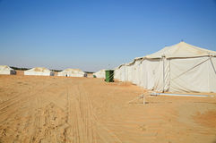 Tents in desert. White camp tents in desert Stock Photography