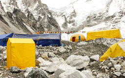 Tents in Everest Base Camp, Nepal. Tents in Everest Base Camp in cloudy day. Here starts the climb to reach the top of the highest mountain in the world Royalty Free Stock Photo