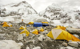 Tents in Everest Base Camp, Nepal. Tents in Everest Base Camp in cloudy day. Here starts the climb to reach the top of the highest mountain in the world Stock Photography