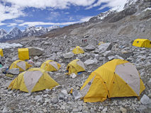Tents in Everest Base Camp, Nepal. Tents in Everest Base Camp in cloudy day. Here starts the climb to reach the top of the highest mountain in the world Royalty Free Stock Photography