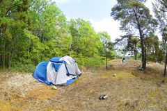 Tents in the forest and green grass. The travel closer to nature by creating temporary accommodation. Nature landscape camping tent in forest on green grass stock photos