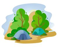 Tents in the forest next to the mountains in the style of flat. Traveling with tents to the mountains. Vector stock illustration