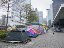Tents in front of Central Government Offices - Umbrella Revolution, Admiralty, Hong Kong Stock Image