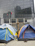 Tents in front of Central Government Offices - Umbrella Revolution, Admiralty, Hong Kong Royalty Free Stock Photos