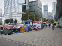 Tents in front of Central Government Offices - Umbrella Revolution, Admiralty, Hong Kong. Protestor stay in front of the Central Government Offices 2 months Stock Photos