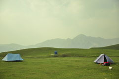 Tents in a hilly area Stock Image