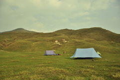 Tents in a hilly area. Traveler tents in a hilly place in Himalayas range stock images