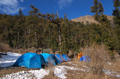 Tents in a Himalayan landscape Royalty Free Stock Image