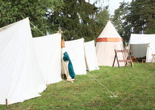 Tents in historical camp. Tents in medieval landsknecht camp stock photos