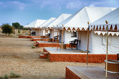 Tents in the Indian desert - tourist camp Royalty Free Stock Photos