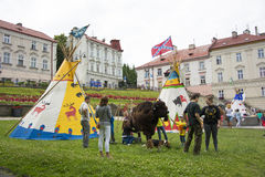 Tents Indians and milking Bison Stock Images