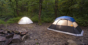 Tents with lights on Stock Photo