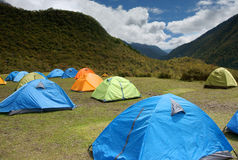 Tents on meadow Stock Image