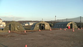 Tents on military camp stock video footage