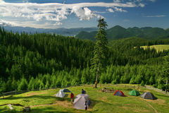 Tents in mountain Stock Photos