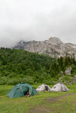 Tents are near the  Mount Fisht Royalty Free Stock Photography