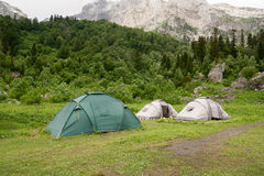 Tents are near the  Mount Fisht Stock Image