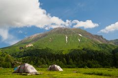 Tents near the  Mount Oshten Stock Image