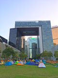 Tents in the park - Umbrella Revolution at Admiralty, Hong Kong. Protestor occupy the park in front of the central government office for two months until now Stock Photos