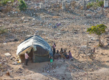 Tents of the poor homeless on the waste ground on January 29, 2014 in Jaipur, India Royalty Free Stock Photo