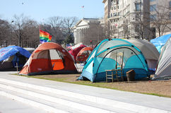 Tents and rainbow Flag at Freedom Plaza Royalty Free Stock Image
