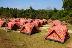 Tents in recreation at Khao Yai national park, Thailand. Royalty Free Stock Photography