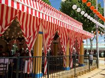 Feria. Tents from the Sevilla Feria. Red and White stripes Royalty Free Stock Image