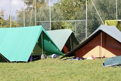 Tents for sleeping installed on a campsite Stock Photo