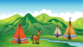 Tents and a smiling horse. Illustration of tents and a smiling horse in a beautiful nature Royalty Free Stock Photos