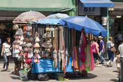 Tents of street vendors in the 25 March, city Sao Paulo, Brazil. Royalty Free Stock Photo