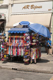 Tents of street vendors in the 25 March, city Sao Paulo, Brazil. Royalty Free Stock Image