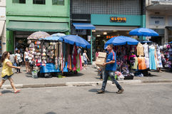 Tents of street vendors in the 25 March, city Sao Paulo, Brazil. Royalty Free Stock Photos