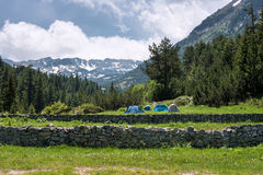 Tents during summer in Pirin mountain (Bulgaria) Stock Images